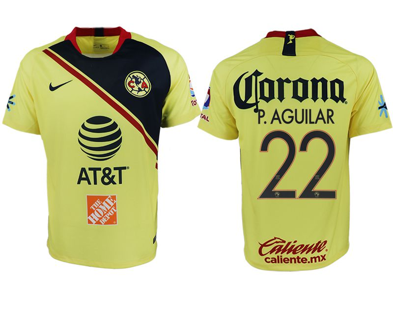 Men 2018-2019 club America home aaa version 22 yellow soccer jersey