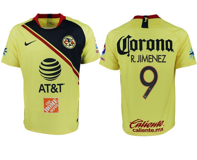 Men 2018-2019 club America home aaa version 9 yellow soccer jersey