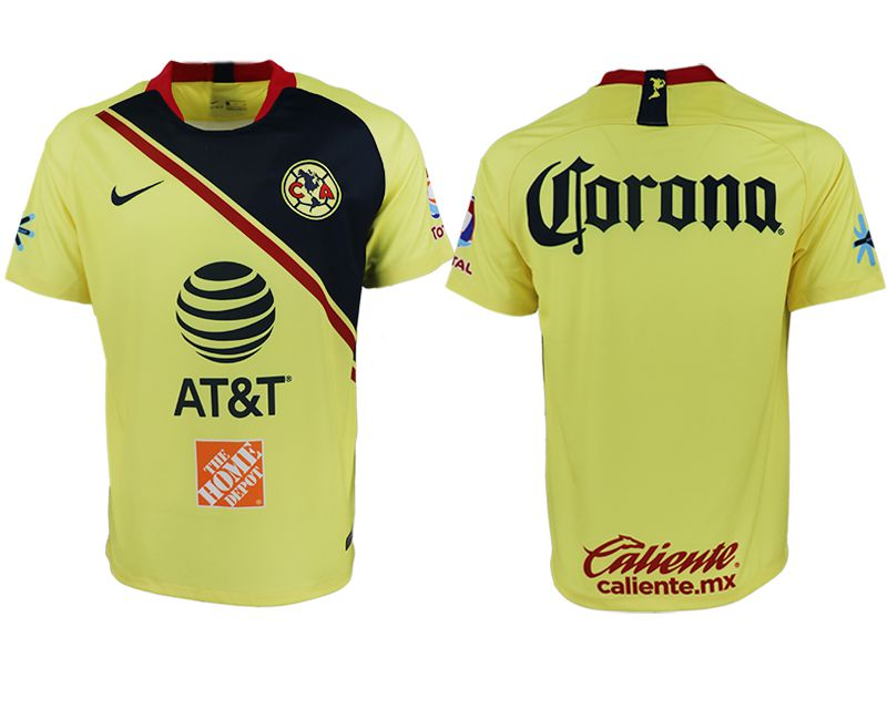 Men 2018-2019 club America home aaa version yellow soccer jersey
