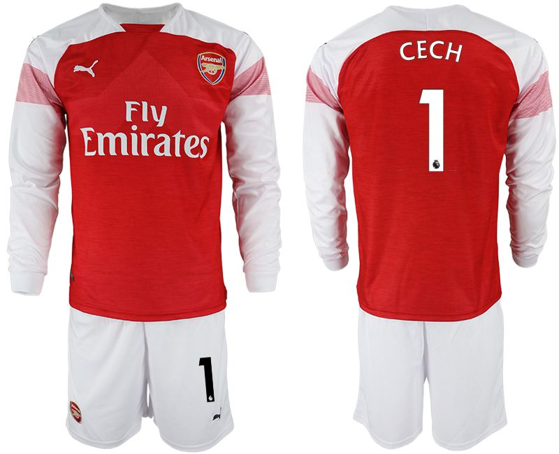 Men 2018-2019 club Arsenal home long sleeve 1 red soccer jersey