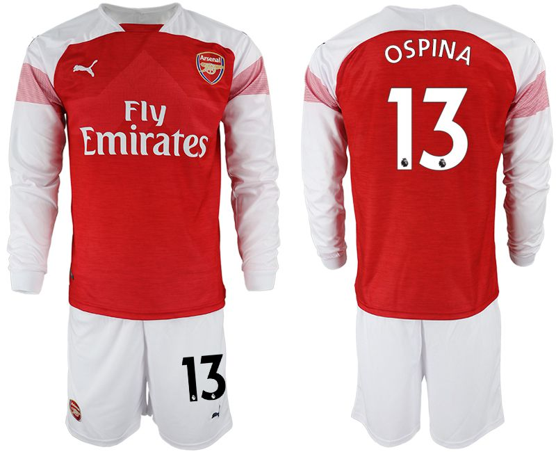 Men 2018-2019 club Arsenal home long sleeve 13 red soccer jersey