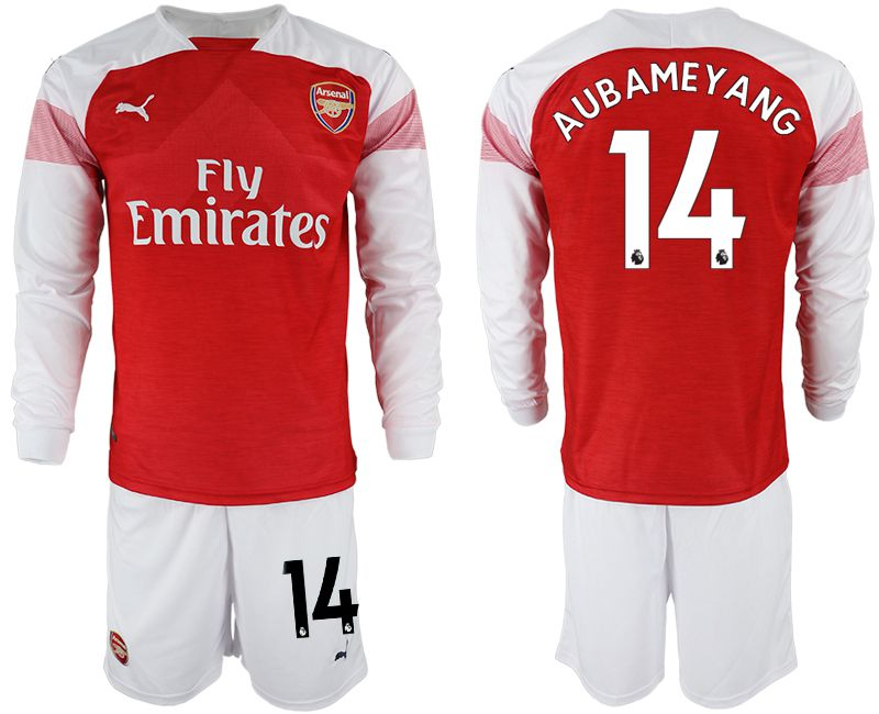 Men 2018-2019 club Arsenal home long sleeve 14 red soccer jersey