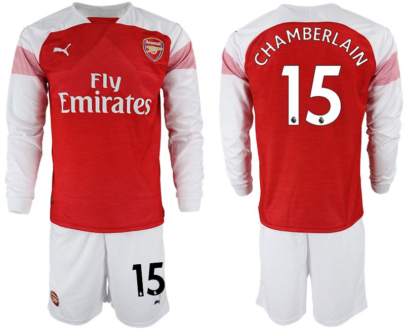 Men 2018-2019 club Arsenal home long sleeve 15 red soccer jersey