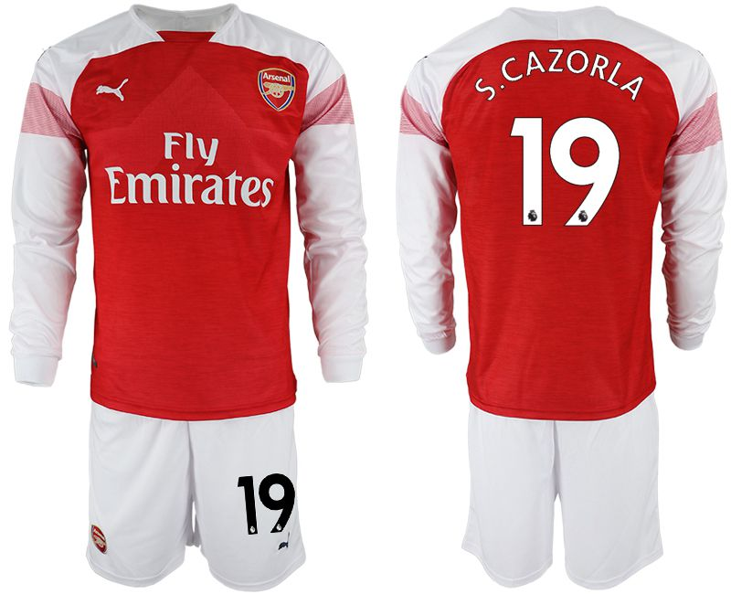 Men 2018-2019 club Arsenal home long sleeve 19 red soccer jersey