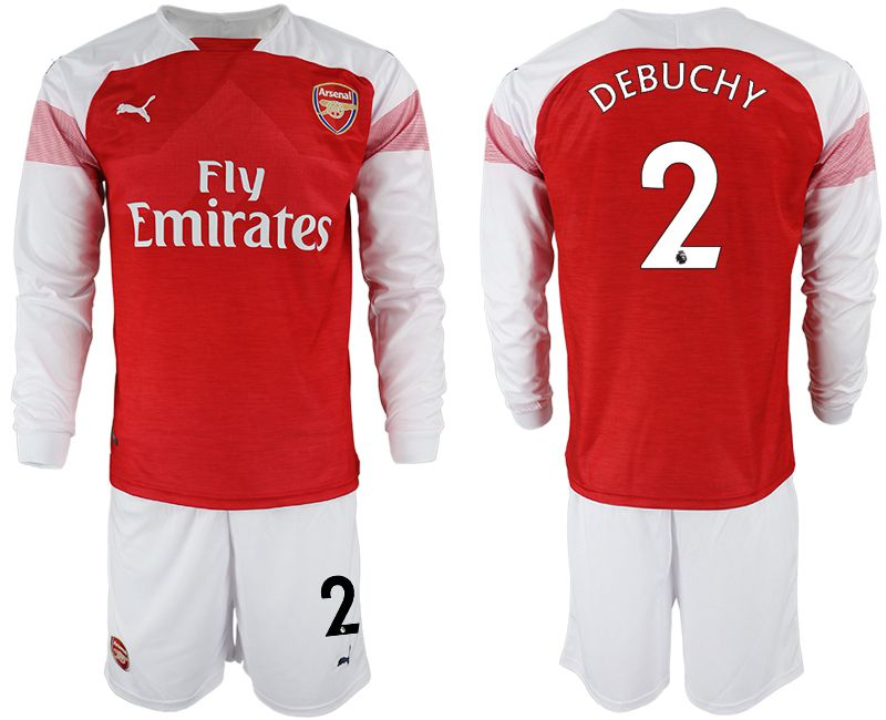 Men 2018-2019 club Arsenal home long sleeve 2 red soccer jersey