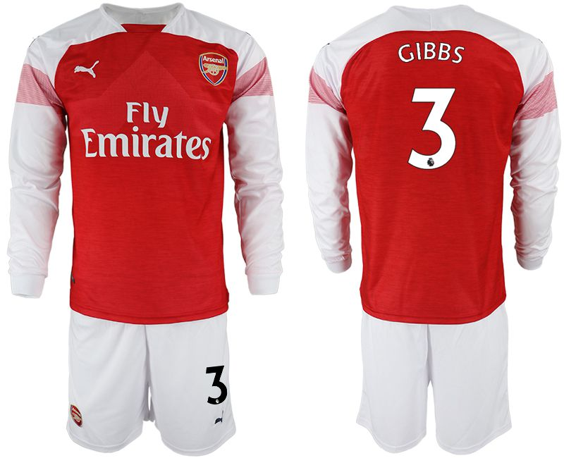 Men 2018-2019 club Arsenal home long sleeve 3 red soccer jersey