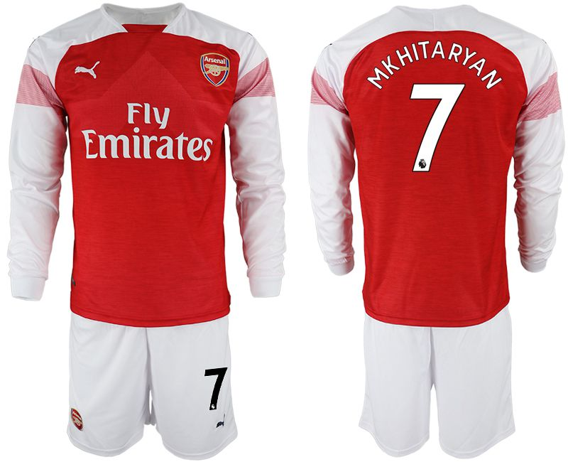 Men 2018-2019 club Arsenal home long sleeve 7 red soccer jersey