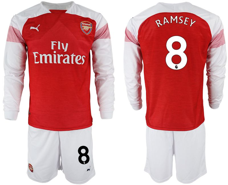 Men 2018-2019 club Arsenal home long sleeve 8 red soccer jersey