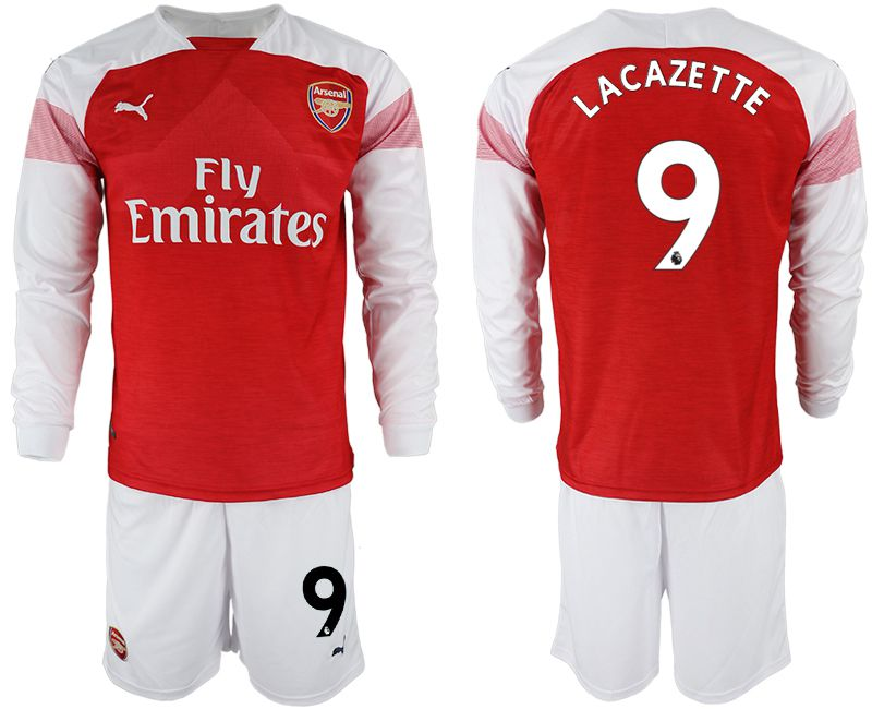 Men 2018-2019 club Arsenal home long sleeve 9 red soccer jersey