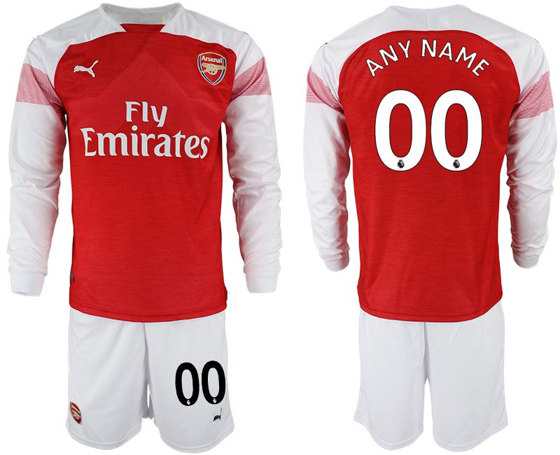 Men 2018-2019 club Arsenal home long sleeve customized red soccer jersey