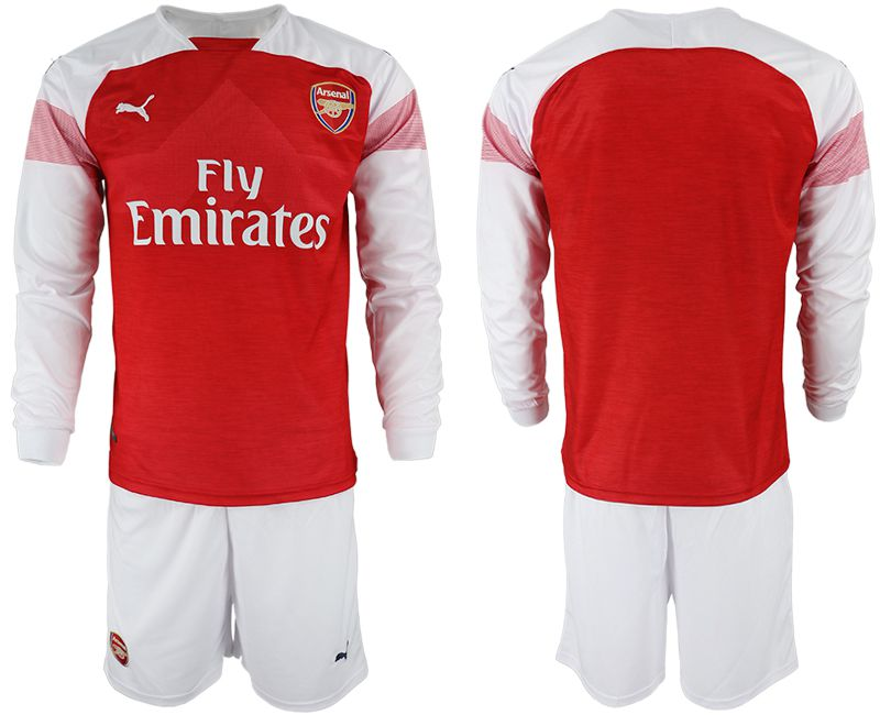 Men 2018-2019 club Arsenal home long sleeve red soccer jersey