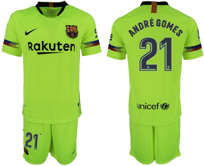 Men 2018-2019 club Barcelona away 21 fluorescent green soccer jersey