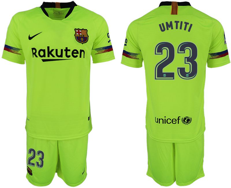 Men 2018-2019 club Barcelona away 23 fluorescent green soccer jersey