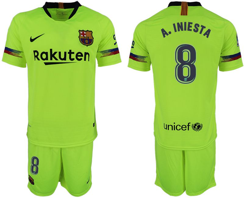 Men 2018-2019 club Barcelona away 8 fluorescent green soccer jersey