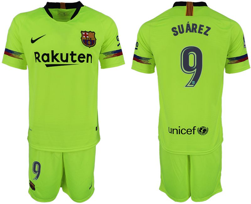 Men 2018-2019 club Barcelona away 9 fluorescent green soccer jersey