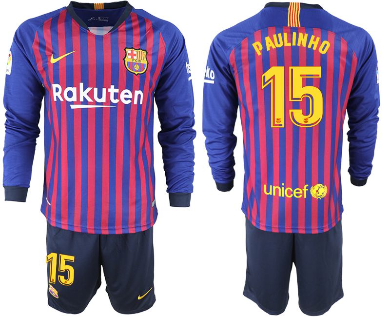 Men 2018-2019 club Barcelona home long sleeve 15 blue soccer jersey
