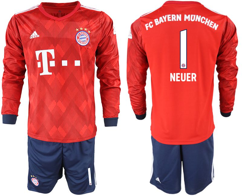 Men 2018-2019 club Bayern Munich home long sleeves 1 red soccer jersey