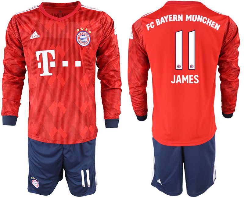 Men 2018-2019 club Bayern Munich home long sleeves 11 red soccer jersey
