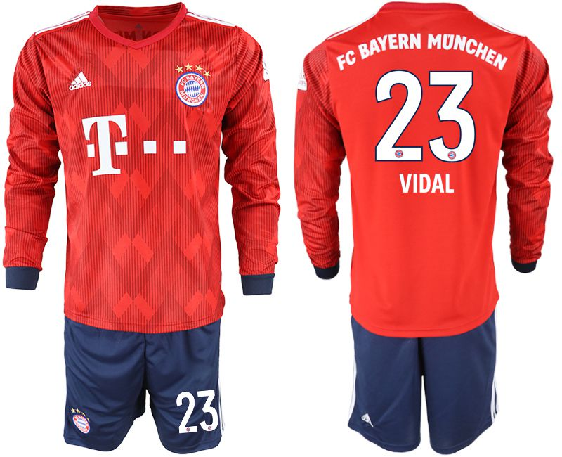 Men 2018-2019 club Bayern Munich home long sleeves 23 red soccer jersey