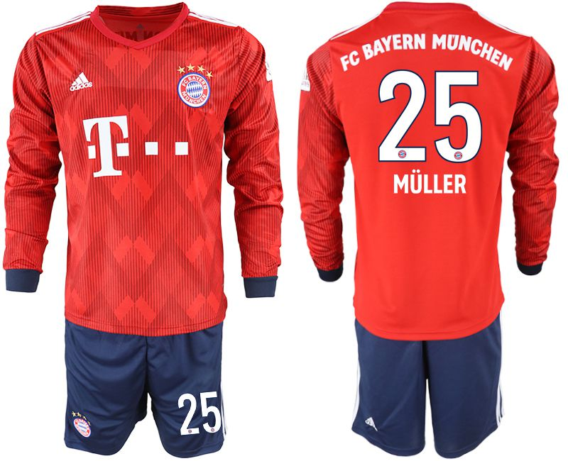 Men 2018-2019 club Bayern Munich home long sleeves 25 red soccer jersey