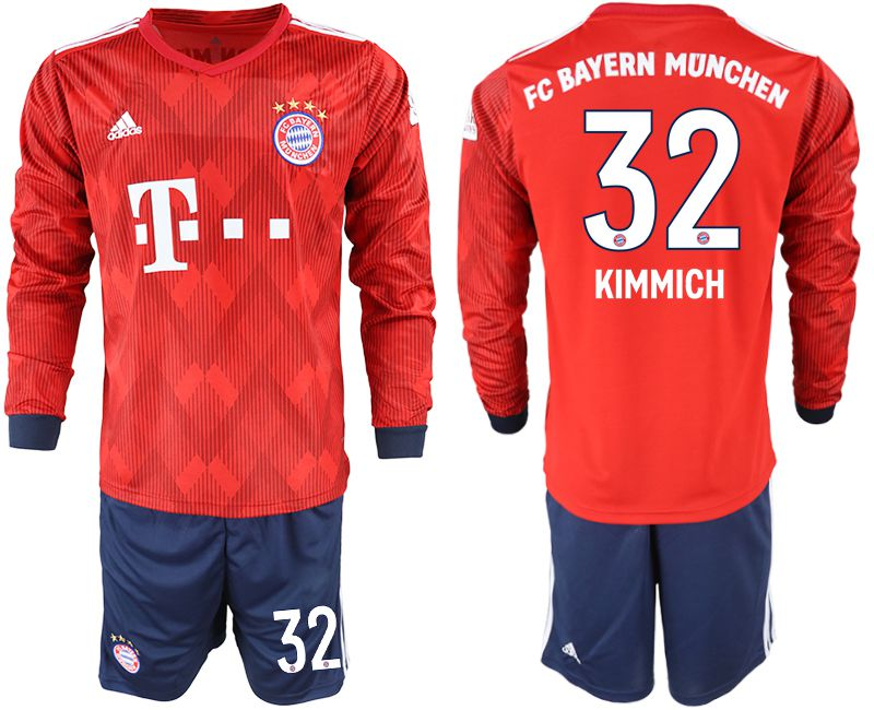 Men 2018-2019 club Bayern Munich home long sleeves 32 red soccer jersey