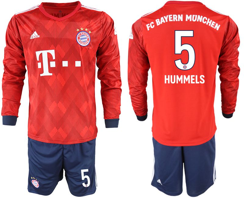 Men 2018-2019 club Bayern Munich home long sleeves 5 red soccer jersey