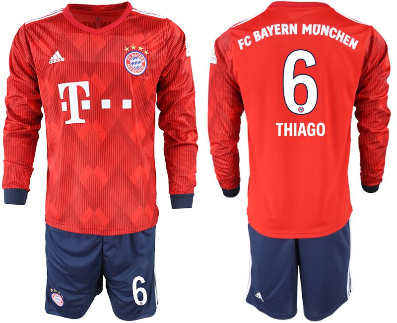 Men 2018-2019 club Bayern Munich home long sleeves 6 red soccer jersey