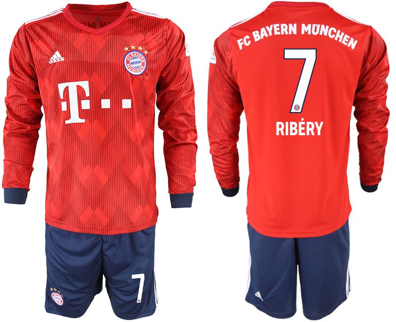 Men 2018-2019 club Bayern Munich home long sleeves 7 red soccer jersey