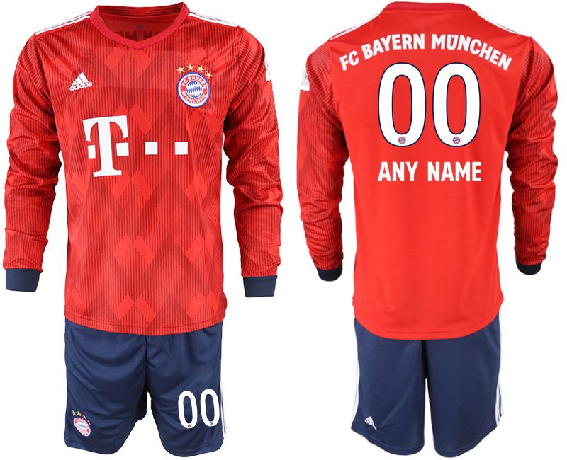 Men 2018-2019 club Bayern Munich home long sleeves customized red soccer jersey