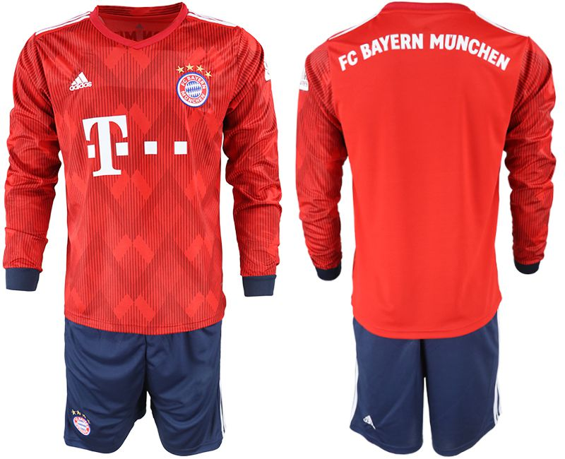 Men 2018-2019 club Bayern Munich home long sleeves red soccer jersey