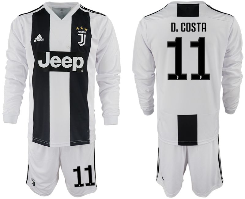 Men 2018-2019 club Juventus home long sleeves 11 white soccer jersey
