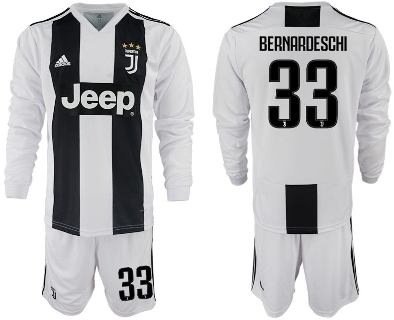 Men 2018-2019 club Juventus home long sleeves 33 white soccer jersey