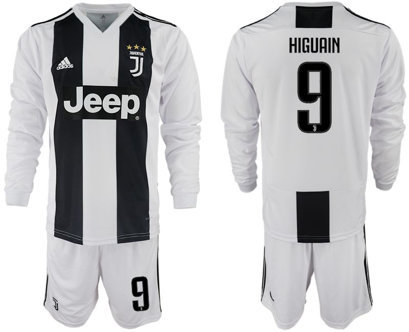 Men 2018-2019 club Juventus home long sleeves 9 white soccer jersey