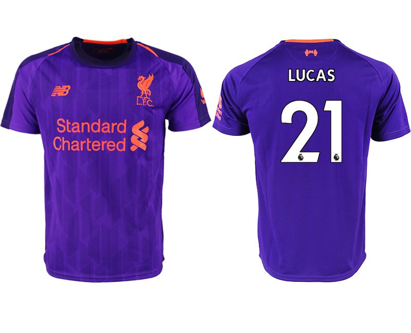 Men 2018-2019 club Liverpool away aaa version 21 purple soccer jersey