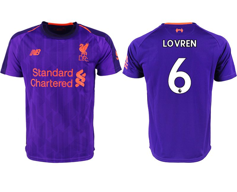 Men 2018-2019 club Liverpool away aaa version 6 purple soccer jersey