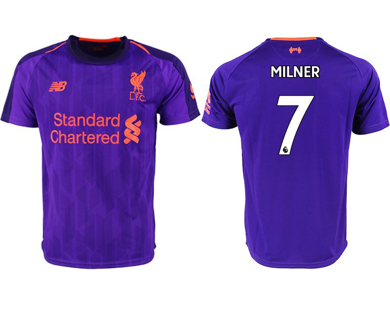 Men 2018-2019 club Liverpool away aaa version 7 purple soccer jersey