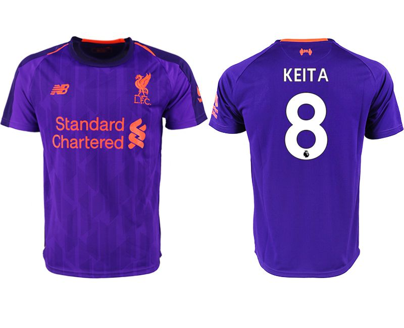 Men 2018-2019 club Liverpool away aaa version 8 purple soccer jersey