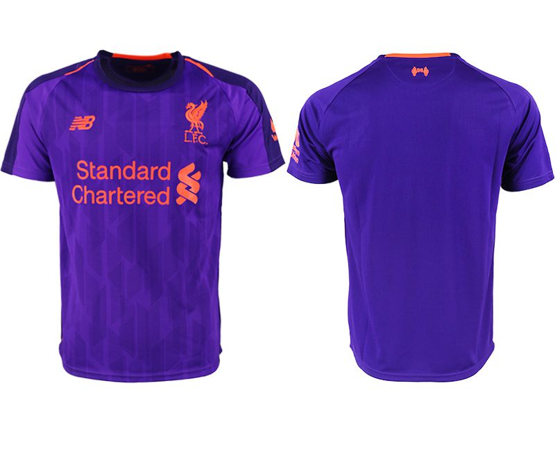 Men 2018-2019 club Liverpool away aaa version purple soccer jersey
