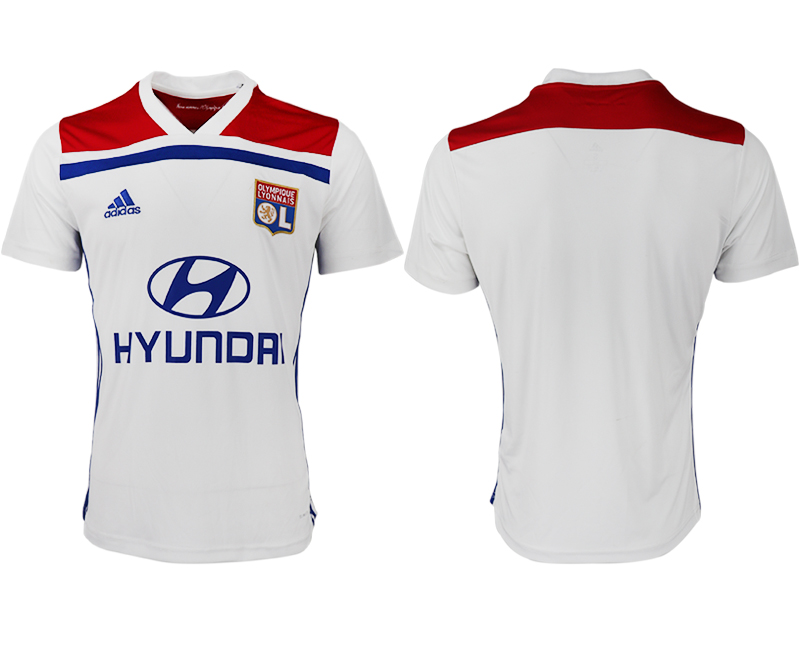Men 2018-2019 club Lyon home aaa version white soccer jersey