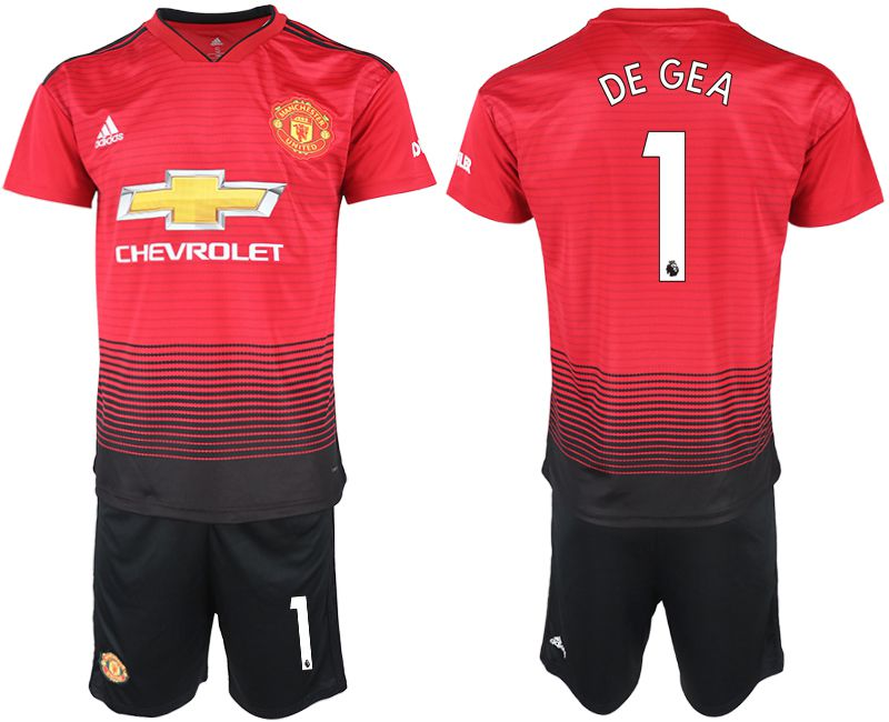 Men 2018-2019 club Manchester United home 1 red soccer jersey