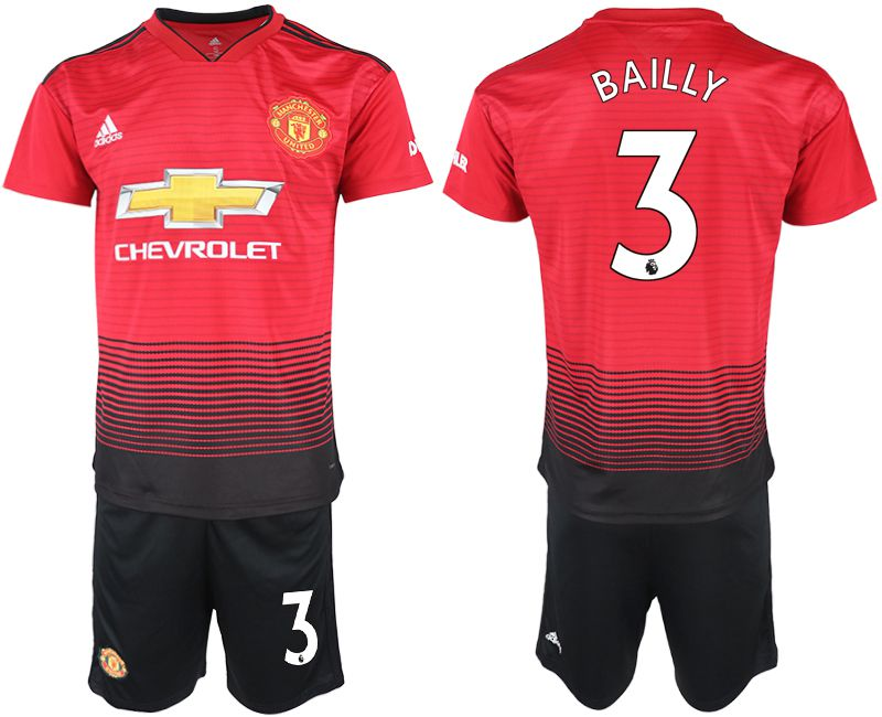 Men 2018-2019 club Manchester United home 3 red soccer jersey