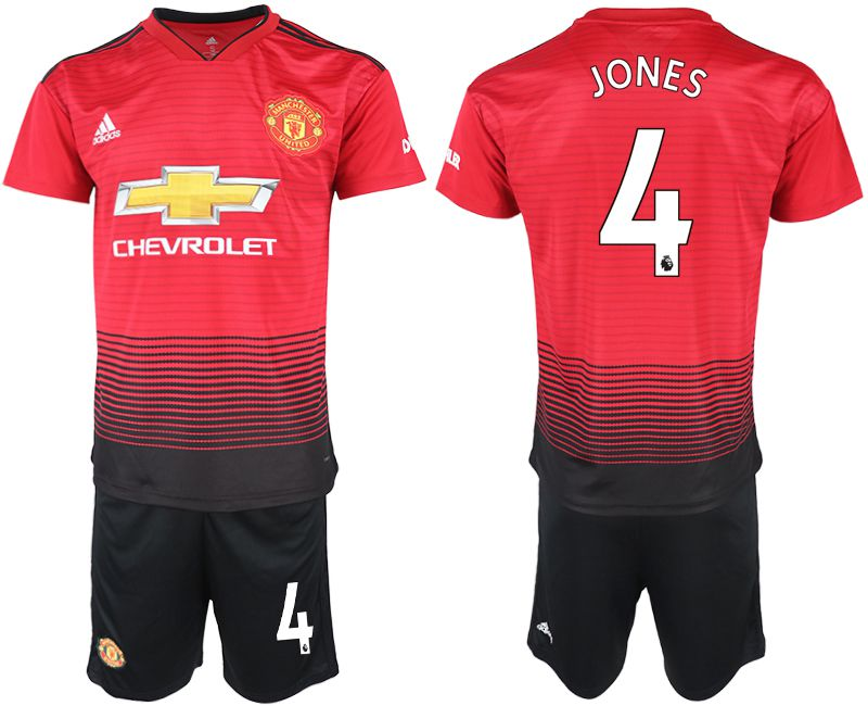 Men 2018-2019 club Manchester United home 4 red soccer jersey