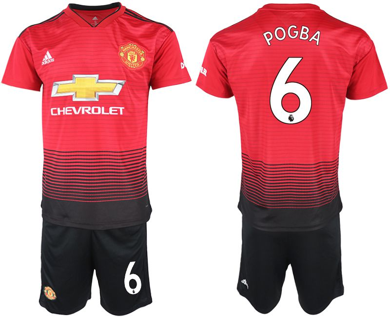 Men 2018-2019 club Manchester United home 6 red soccer jersey