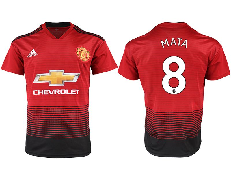 Men 2018-2019 club Manchester United home aaa version 8 red soccer jersey