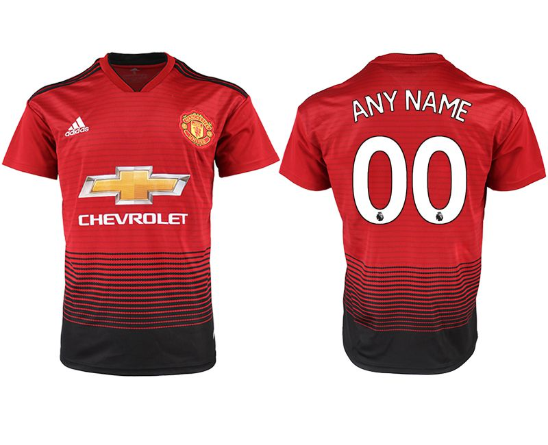 Men 2018-2019 club Manchester United home aaa version customized red soccer jersey