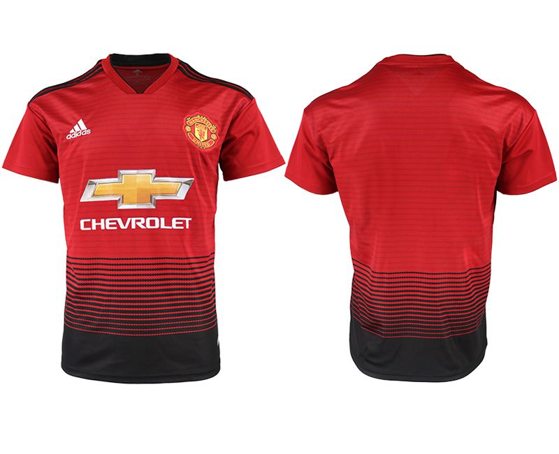 Men 2018-2019 club Manchester United home aaa version red soccer jersey
