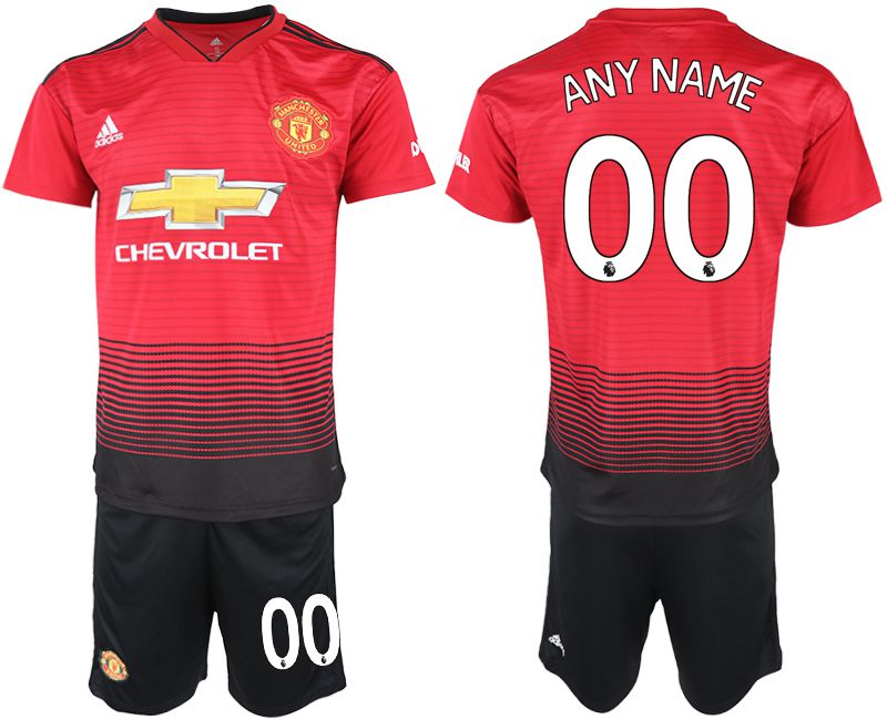 Men 2018-2019 club Manchester United home customized red soccer jersey