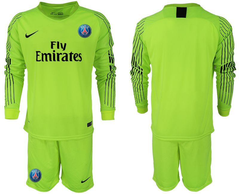 Men 2018-2019 club Paris Saint-Germain fluorescent green long sleeve goalkeeper soccer jersey