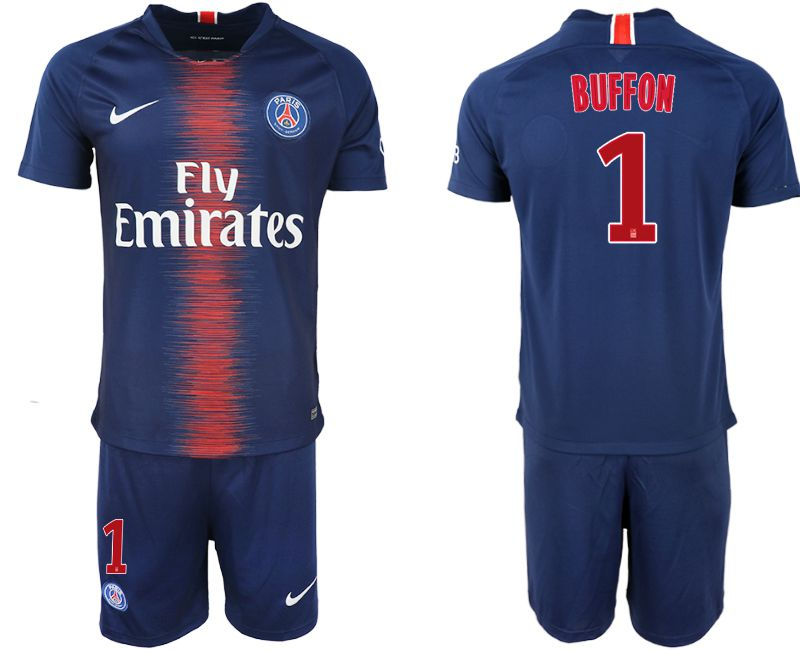 Men 2018-2019 club Paris St Germain home 1 blue soccer jersey1