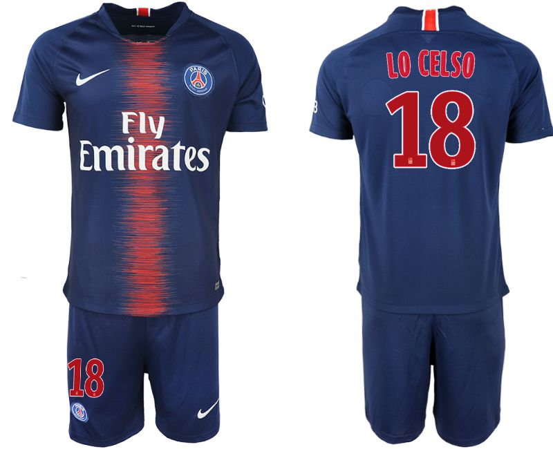 Men 2018-2019 club Paris St Germain home 18 blue soccer jersey